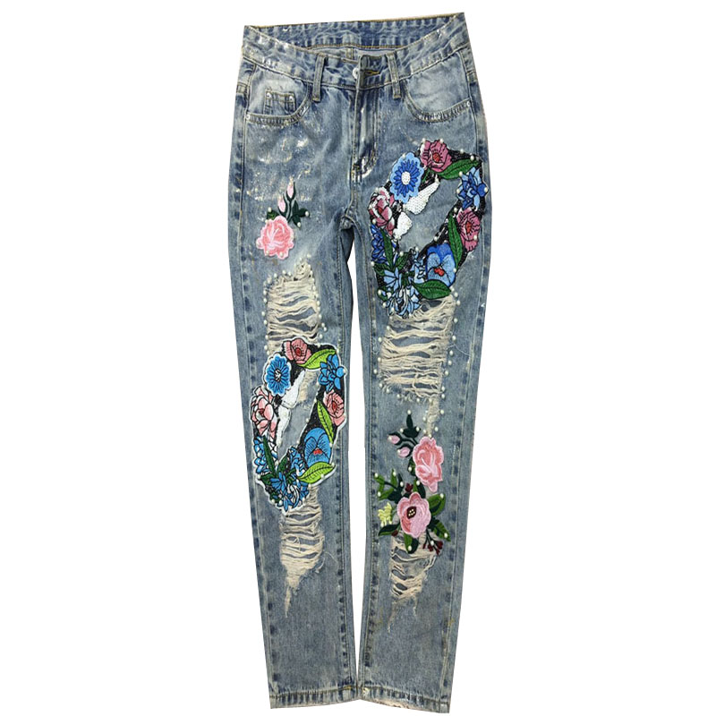 Jeans hole spring summer women beading embroidere ankle length skinny pencil jeans