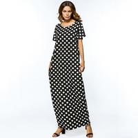2018 Summer Dress Women Casual Muslim O Neck Long Dress Dot Plus Size Short Sleeve Loose