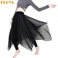 Feoya Women Fake Leggings Skirt Irregular Stretch Cotton Modal Chiffon Skirt Large Size Slim High Waist Adult Casual Trousers