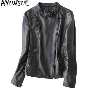 AYUNSUE 2019 Fashion Genuine Leather Jacket Women Real Sheepskin Coat Female Spring Short Slim Jackets For Women casaco 700101