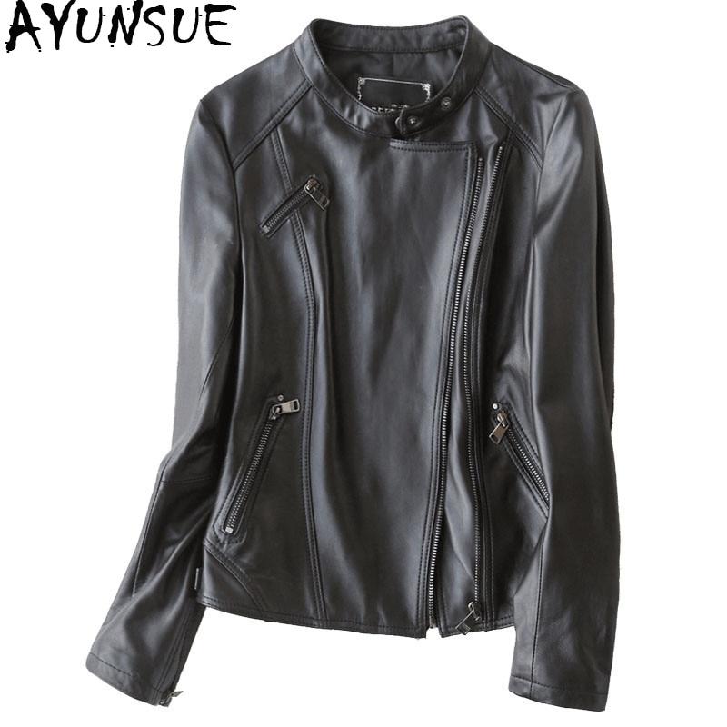 AYUNSUE 2020 chaqueta de piel auténtica a la moda, abrigo de pelo auténtico de oveja para mujer, chaquetas delgadas cortas de primavera para mujer, abrigo 700101