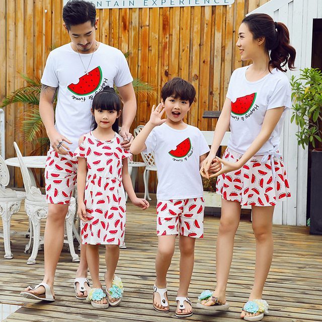08384f81d723 2018 Summer Family Matching Clothing Set Korean Fashion Cotton Fashion T  Shirt With Skirt 2pcs Couple  Lovers Beach Sports Suit