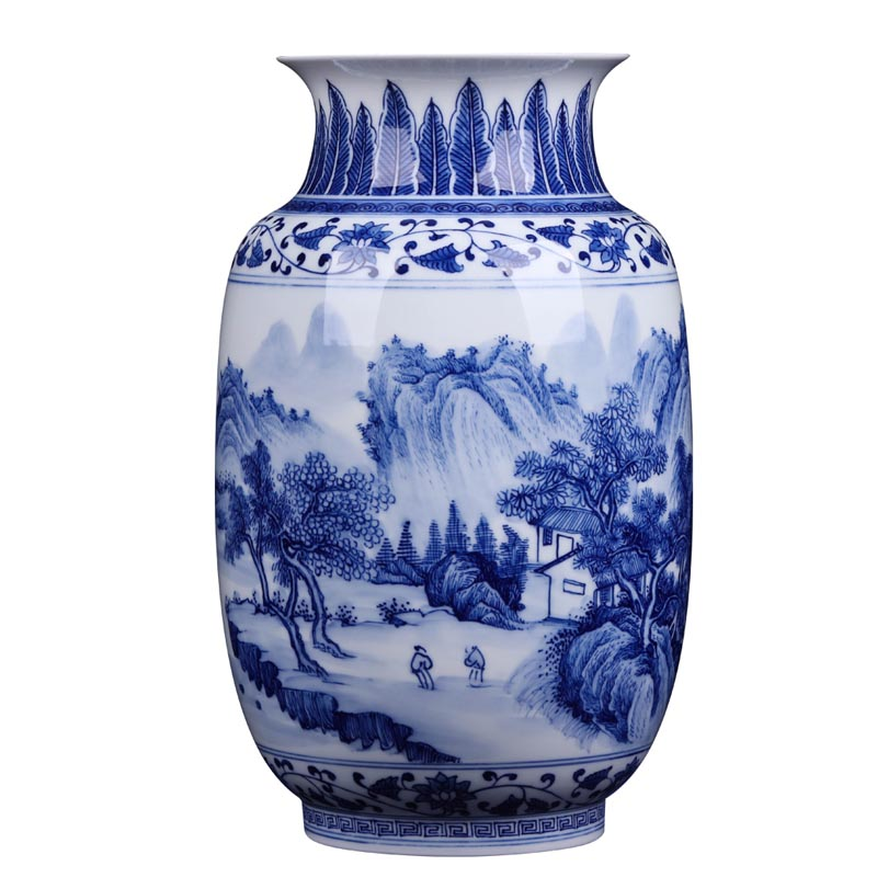 Creative Chinese Hand Painted Porcelain Flower Vase Blue and White Rivers And Mountain Pattern Tabletop Vase Home Office Decor