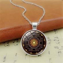 Buddhist Sacred Sri Lanka Yantra Time Pendant Necklace Vintage Sweater Long Chain Geometry Men Women Necklace Jewelry