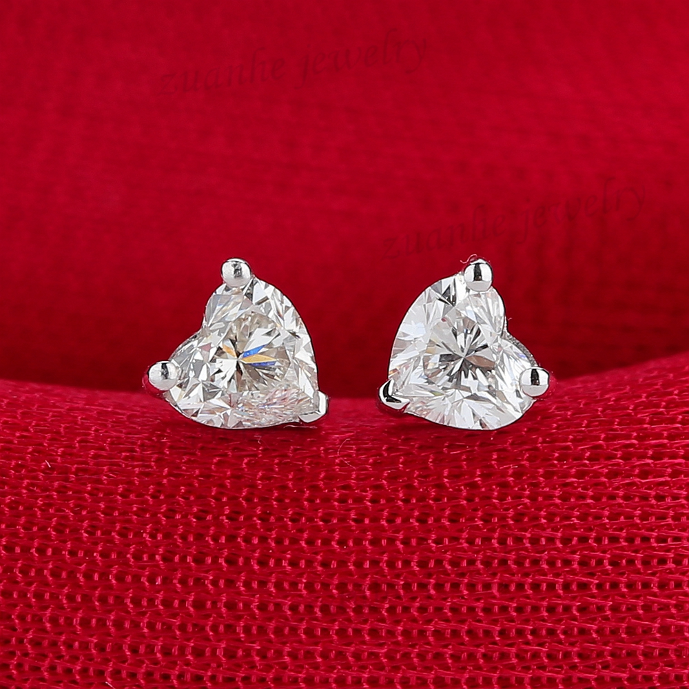 Vs H Heart Cut Natural Cubic Zironia Solid 14k White Gold Diamond Stud Earrings Women Engagement Wedding Party Jewelry In From
