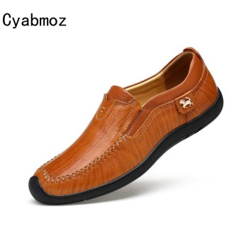 Cyabmoz Genuine Leather Handmade Men Loafers 2018 Men Brand Slip On Boat Shoes Fashion Casual Moccasins Man Striped Driving Shoe