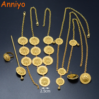 Ethiopian Sets Jewelry 6pcs Set Necklace Earrings Ring Hair Pin Forehead Chain Bracelet Habesha Set Africa
