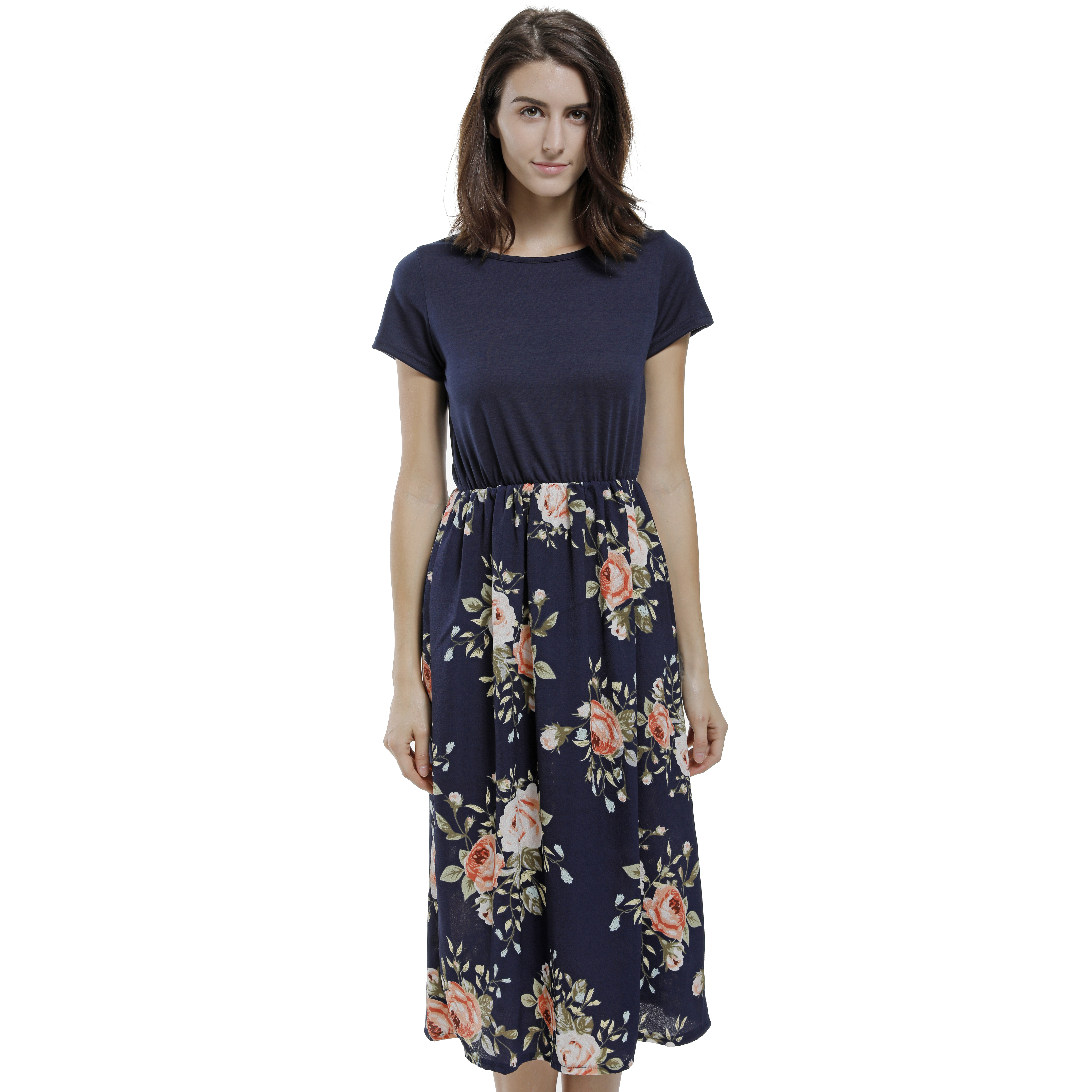 Women Casual Beach Party Club Dresses Short Sleeve Floral -8684