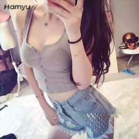 2017 New Fashion Summer Casual Halter Vest Strap Crop Tank Top Knitted Sexy Vest Sleeveless Button