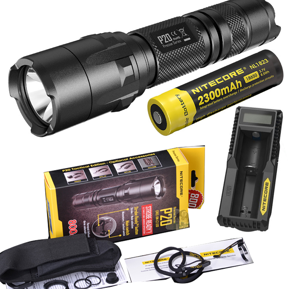 NITECORE P20 Flashlight CREE XM-L2 (U2) LED max. 800LM beam Dual-switch tail LED torch for outdoor sports + battery and charger nitecore p20 flashlight cree xm l2 u2 led max 800lm led torch for outdoor sports 3500mah 18650 battery and um10 charger