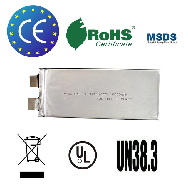 3 unids/lote You & Me recargable célula de la batería lipo 3.7 V 10000 mah 25C