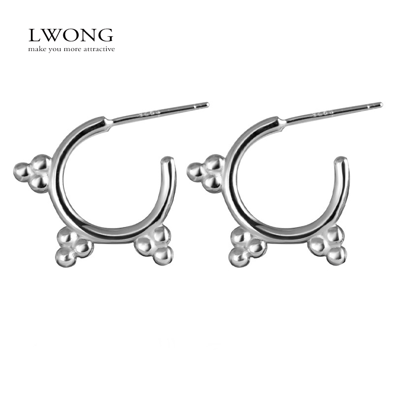 LWONG 925 Sterling Silver Dotted Small Hoop Earrings for ...
