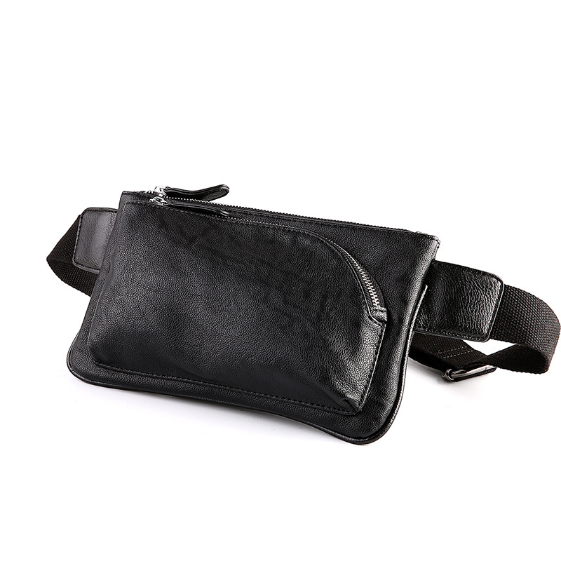 Fashion Chest Bag Men Leather Larger Capacity Belt Waist Bag Male Fanny Packs Pillow Black Crossbody Bag For Men Banane Sacoche