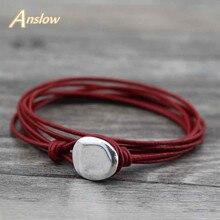 Anslow, модный дизайн,, Дешевые Ювелирные изделия для мужчин и женщин, кожаный браслет для женщин и мужчин,, подарок LOW0557LB