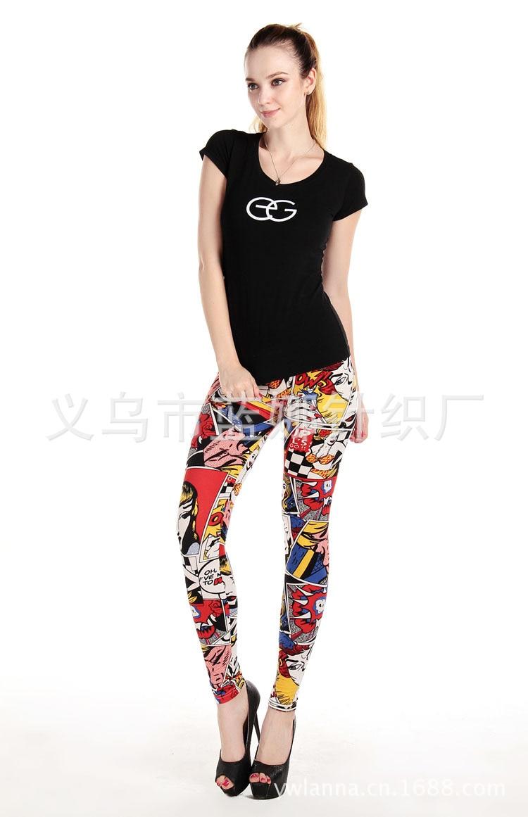 Women Comic Leggings Cartoon Printed Leggins high Stretch Girls Legging Punk Rock Leggin Disco Pants Evening Clubwear 1