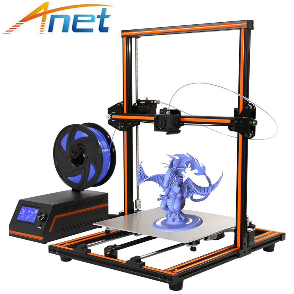 High Precision Anet E12 E10 Imprimante 3D Printer Update Threaded Rod Reprap Prusa i3 Impresora 3D Printer DIY Kit with Filament anet e12 3d printer large printing size high precision update threaded rod reprap i3 3d 3d printer kit with pla abs filament