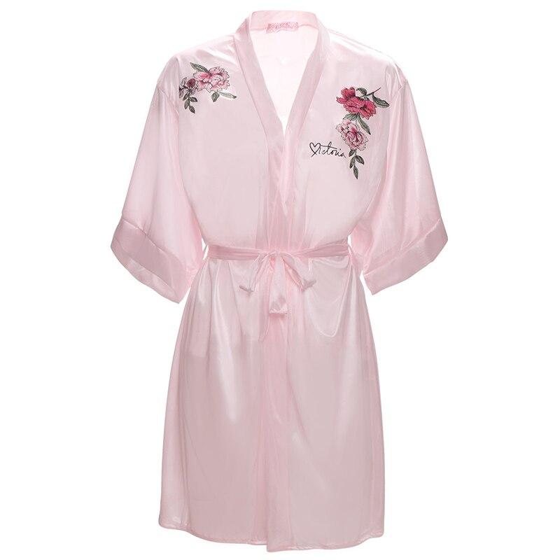 Sexy Satin Night Robe Embroider Bathrobe Perfect Wedding Bride Bridesmaid Robes Dressing Gown Plus Size Women