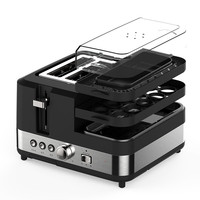 220V Multifunctional Electric Bread Toaster Machine Automatic Bread Breakfast Maker With Egg Steamer Frying Plate High Quality