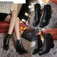 Winter and winter European and American leather boots pointed Martin boots with thick side zipper and velvet ankle boots