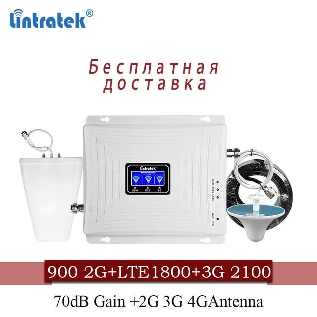 Lintratek אות סלולארי 900 1800 2100 GSM Tri Band מגבר אות ניידת מהדר DCS WCDMA 2G 3G 4G LTE אנטנה #40