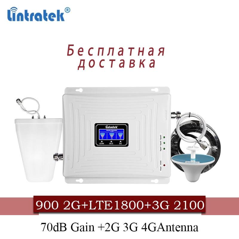 Lintratek Amplificateur de Signal cellulaire 900 1800 2100 GSM Tri Bande Amplificateur Répéteur de Signal Mobile DCS WCDMA 2G 3G 4G LTE Antenne #40