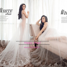 White Gauze Maternity Dress Hem Trailing Lace See-through Dress Pregnant Photography Props Fancy Pregnancy Photo Shoot free size