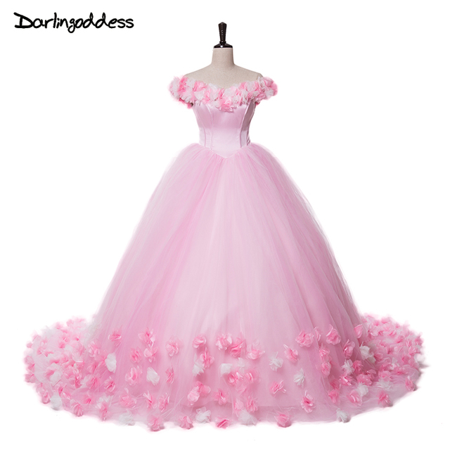 Pink princess cloud wedding dresses vintage puffy ruffle for Pink ruffle wedding dress