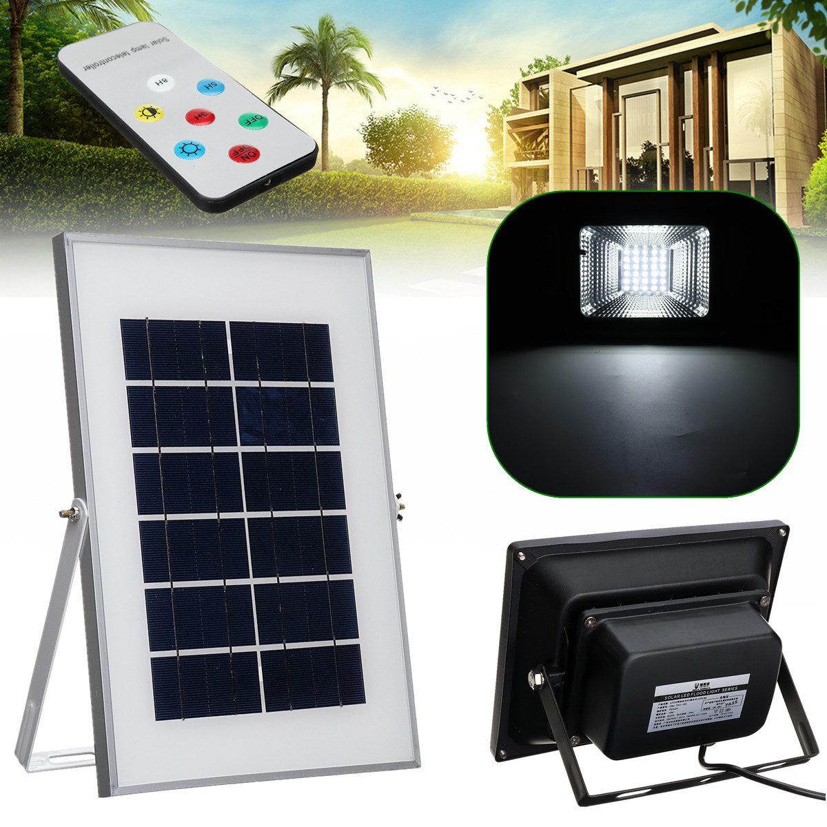 10W 30 LED Solar Power Flood Light Remote Control Outdoor Garden Lawn Lighting Lamp Reusable Super Bright Intelligent Sunlight цена 2017