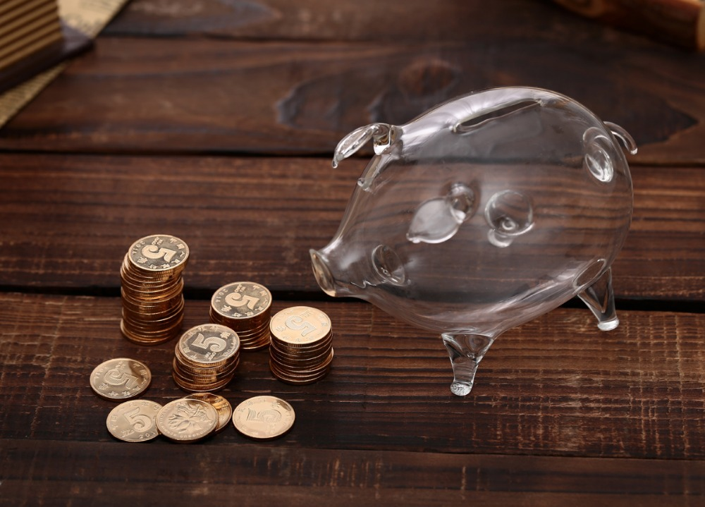 Buy transparent clear glass chubby pig for Transparent piggy bank money box