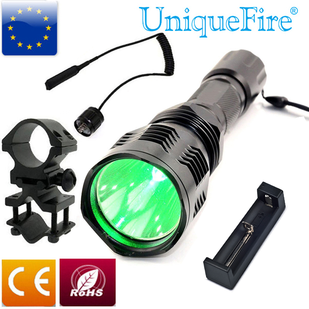 UniqueFire HS-802 CREE LED Flashlight Long Range Green Laser Flashlight For Hunting+Scope Mount+ Charge+Rat Tail Shoting Torch цена