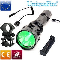 UniqueFire HS 802 CREE LED Flashlight Long Range Green Laser Flashlight For Hunting+Scope Mount+ Charge+Rat Tail Shoting Torch