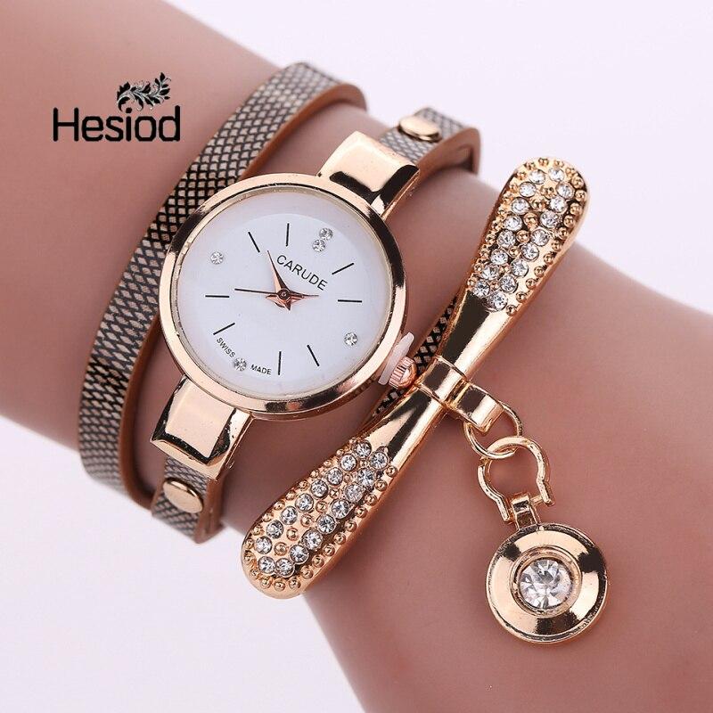 Women Watches Top Brand Luxury Leather Quartz Watch Women Dress Wristwatch Gold Ball Crystal Pendant Charm 7 Color Elegant Gifts