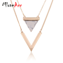 Women Gold Plated Punk Necklaces From India Hot Geometric Triangle Faux Marble Stone Pendant Necklace Vintage Jewelry