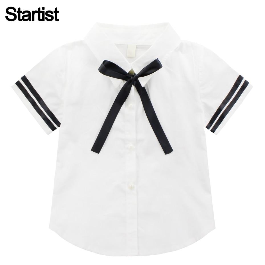 100% Wahr Bluse Für Mädchen Kurzarm Weiß Bluse Für Mädchen Striped Schule Shirts Für Mädchen Teenager Kostüme Für Mädchen 6 8 10 12 14 Exzellente QualitäT