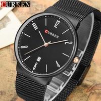 2017 CURREN Brand Fashion Mens Watches Black Mesh Steel Ultra Thin Quartz Watch Men Luxury Business