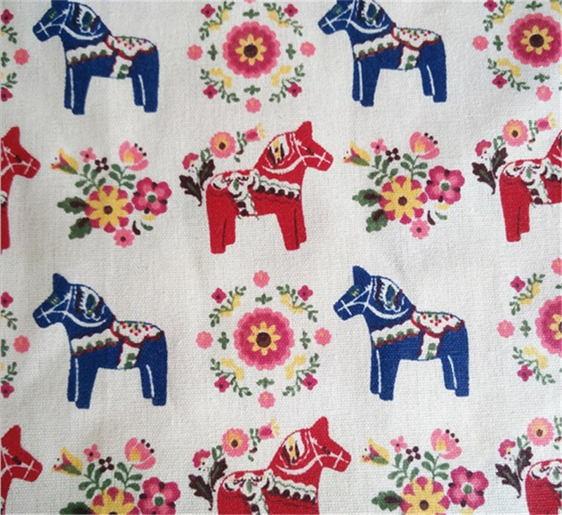 <font><b>150</b></font> <font><b>cm</b></font> <font><b>X</b></font> <font><b>50</b></font> <font><b>cm</b></font> IDY handmade pony printed linen fabric for <font><b>pillow</b></font>/curtain/sofa sets/tablecloth image