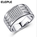 Micro Pave Fine Rings platinum plated Fashion Square CZ Diamond Jewelry Engagement Rings Accessories bijoux for Women LSR320