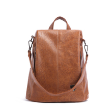 Womens Backpack Trendy Fashion British Style Soft PU Material Multi-function Large Capacity Anti-theft Design