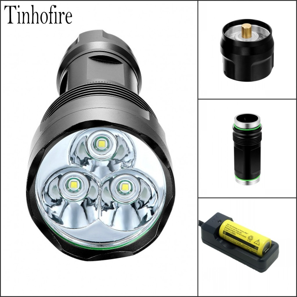 Tinhofire T3 3 X CREE XM-L T6 LED Flashlight waterproof 4000Lm LED Torch light Lamp 26650 Battery Charger tinhofire 6870 cree xm l 2 2000 lumens l2 led flashlight torch light lamp micro usb input 5v charger with battery