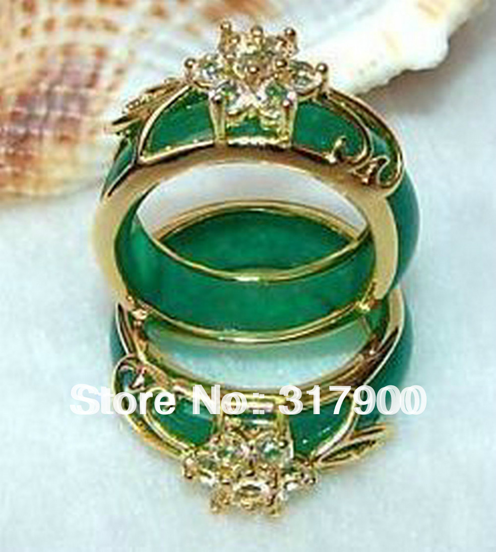 5PCS Hand Carvings Green Ring size:8#