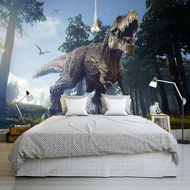 все цены на Custom Photo Wall Paper 3D Dinosaurs Wall Painting Mural Wallpapers Bedroom KTV Bar Backdrop Wall Murals Wallpaper Home Decor