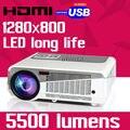 2016 Nueva Película de Cine En Casa Cine Video PC Portátil HDMI USB LCD LED Proyector FUll HD 1080 P Beamer proyector Projetor