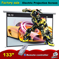 133'' 16:10 Elegant Electric Projection Screen Motorized Projector Screen Wireless Remote Controller as gift Matt White
