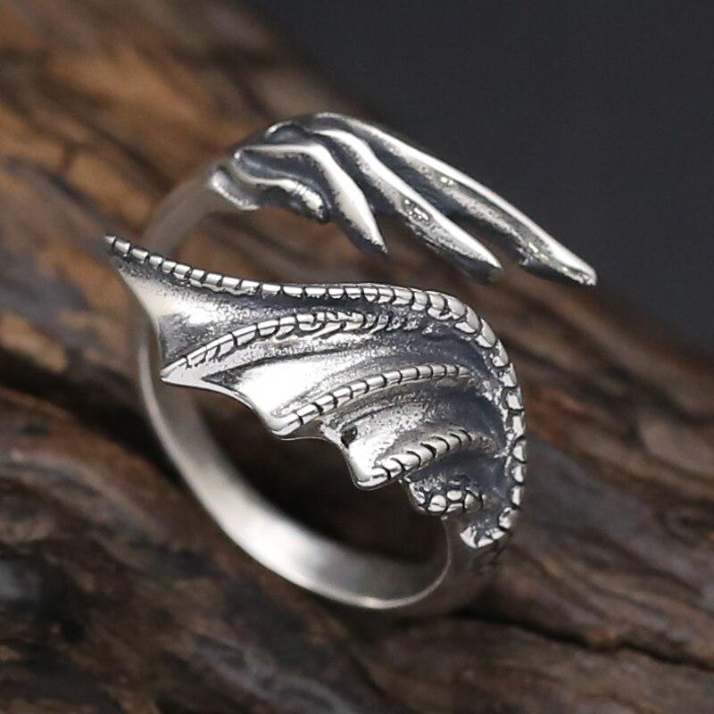 Одноцветное silvre 925 Готический Дракон крылья манжеты Кольца Для мужчин 100% натуральная Античная стерлингового серебра 925 в стиле панк Дизайн ...