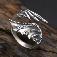Solid Silvre 925 Gothic Dragon Wings Cuff Rings Men 100 Genuine Antique 925 Sterling Silver Cool