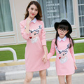 2017 New Family Matching Outfits fashion deer style family clothing dresses for girls & women spring autumn mother / girls dress