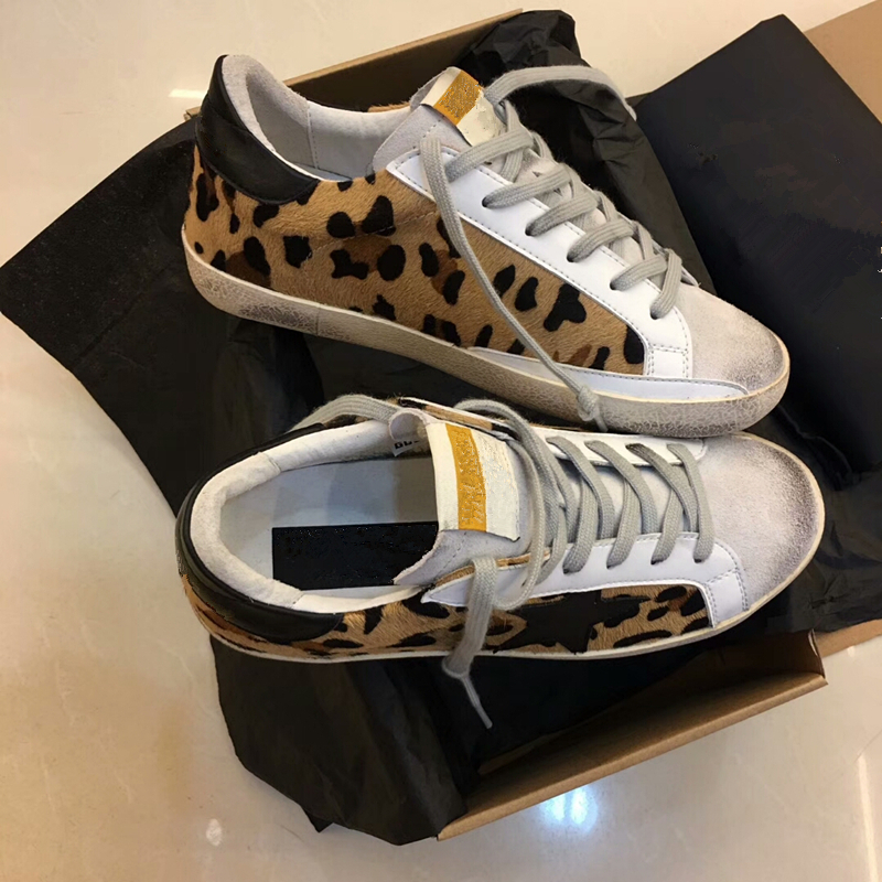 Leopard Fur Women Casual Shoes Round Toe Lace Up Outfit Loafers Golden Star Genuine Leather Lace Up Vintage Do Old Dirty Shoes sexy leopard seude leather mens loafers luxury rivets round toe lace up flats casual shoes trainers ultra boosts tenis feminino