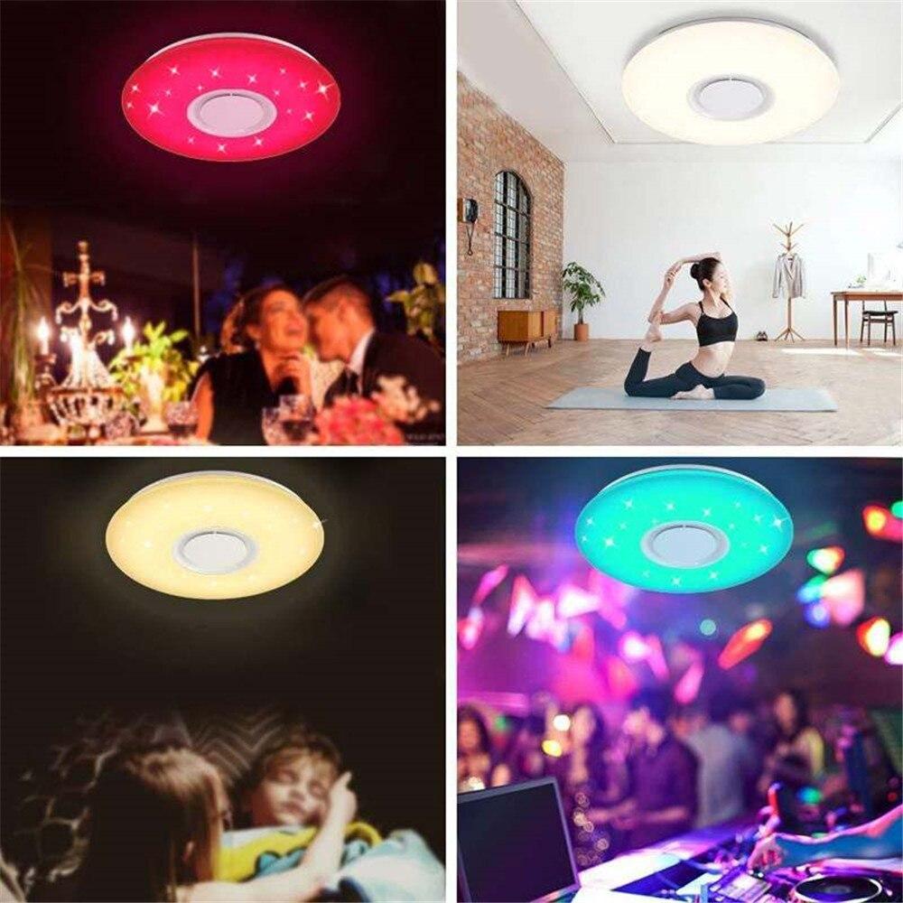 Moderna lâmpada led rgb luz regulável 36 w 60 app controle remoto bluetooth música moderna conduziu a luz de teto - 5