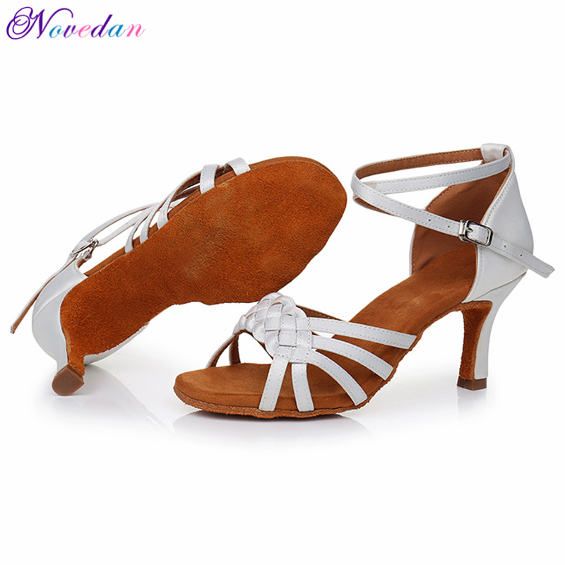 New Red White Women Latin Dance Shoes Ballroom Tango Ladies Girls Soft Sole Satin Salsa Dancing Shoes For Women Grils in Dance shoes from Sports Entertainment