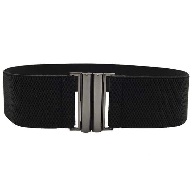 Elastic Band Wide Belts Simple Down Coat Waist Belts Female Buckle Cummerbund Black Strap Dress Decoration Gifts